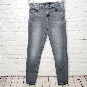 Lucky brand grey raw hem high rise skinny jeans 10